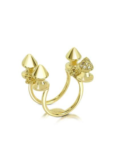 Four Studs Gold and Cognac Diamonds Ring - Bernard Delettrez