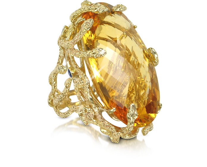 Medusa Gold and Citrine Ring - Bernard Delettrez