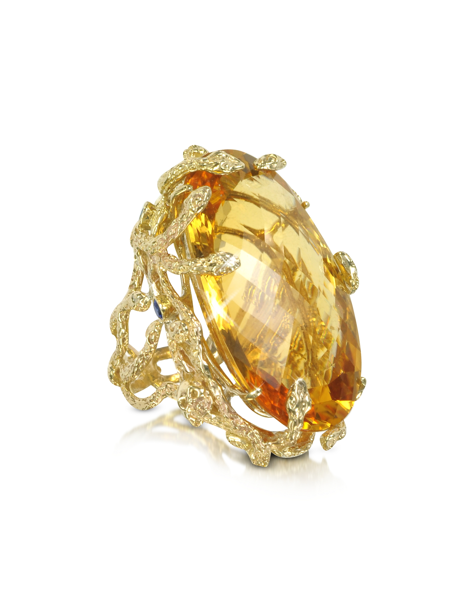 Bernard Delettrez Rings, Medusa Gold and Citrine Ring