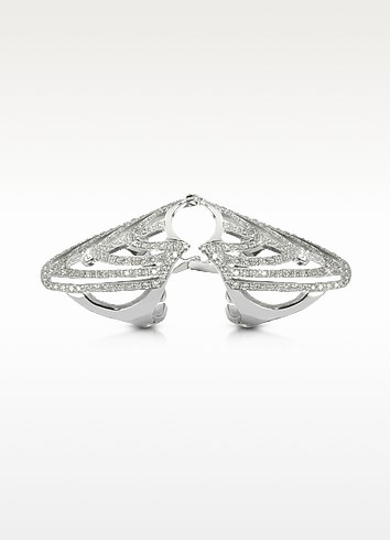 White Gold and Diamonds Shield Articulated Ring - Bernard Delettrez