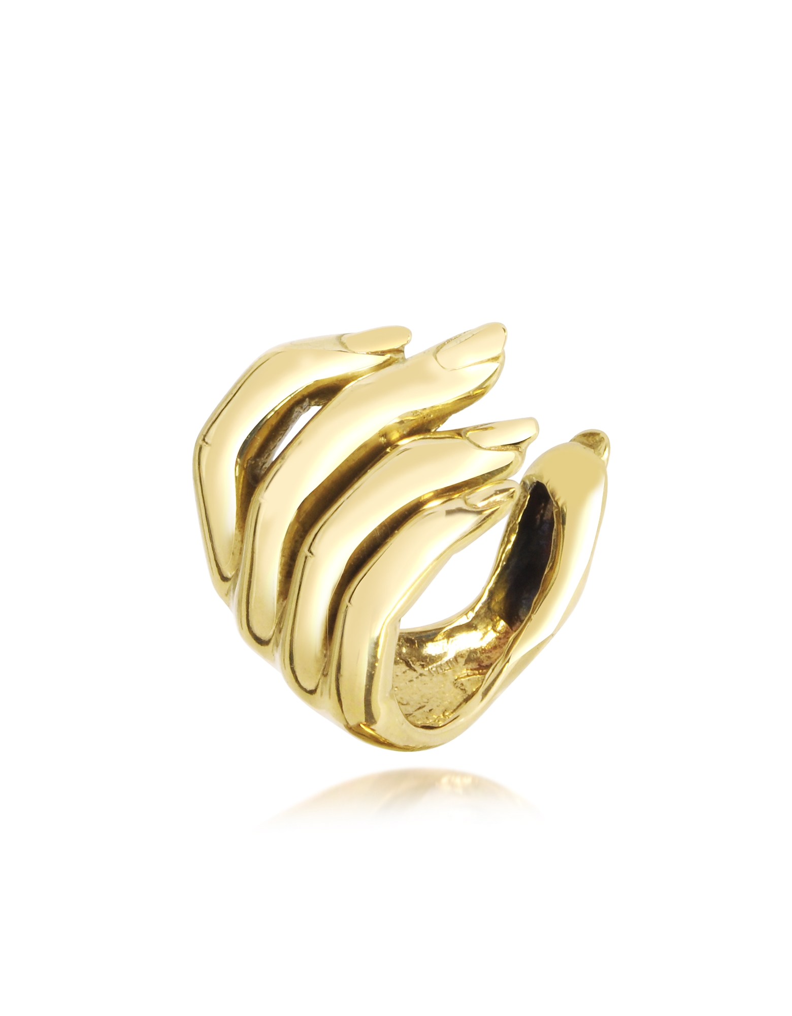 Bernard Delettrez Rings, Goldtone Open Hand Women's Bronze Ring