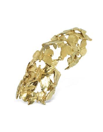 Goldtone Butterflies Articulated Bronze Ring