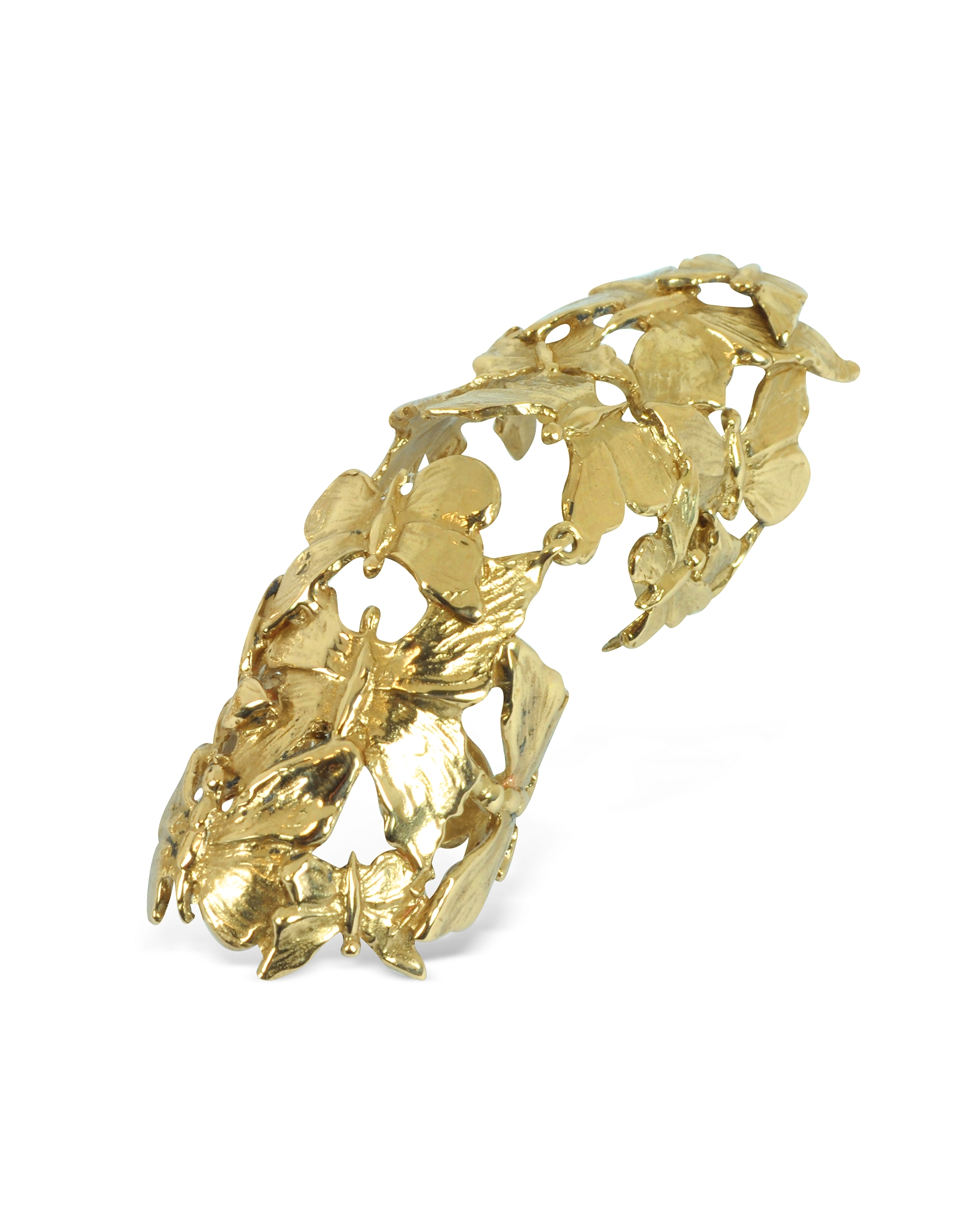 Bernard Delettrez Rings, Goldtone Butterflies Articulated Bronze Ring