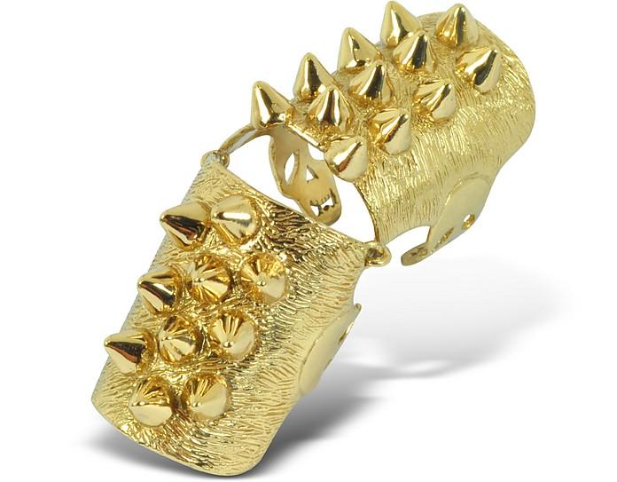 Golden Studs Articulated Bronze Ring - Bernard Delettrez