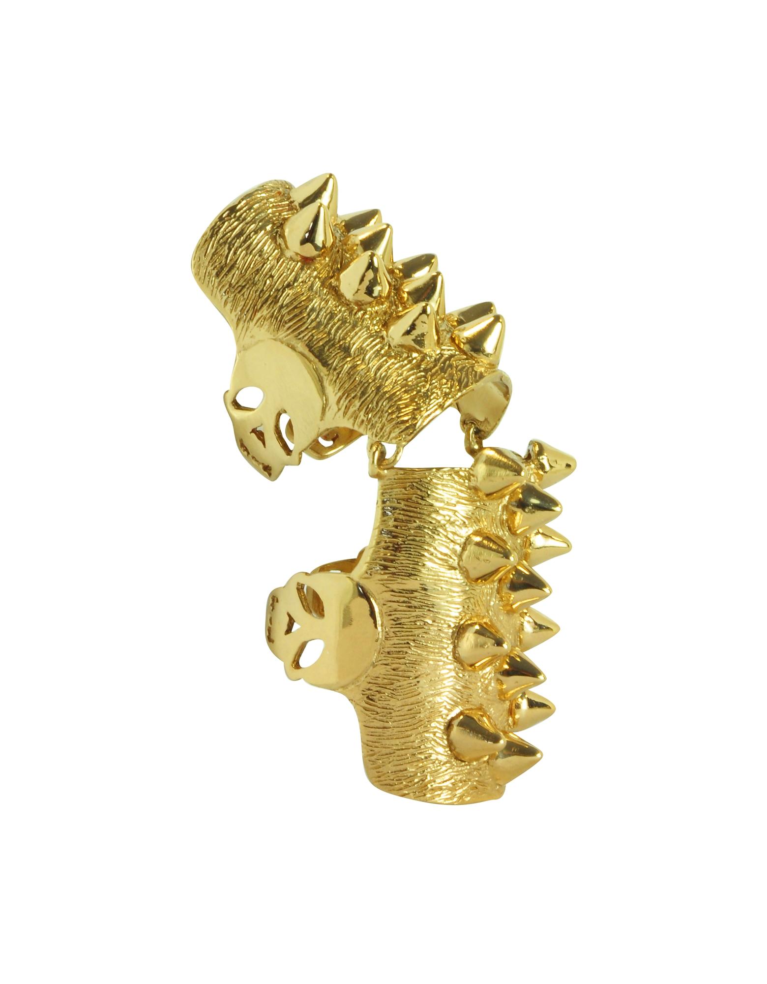 Фото Золотистое Сочлененное Кольцо из Бронзы с Шипами. Купить с доставкой