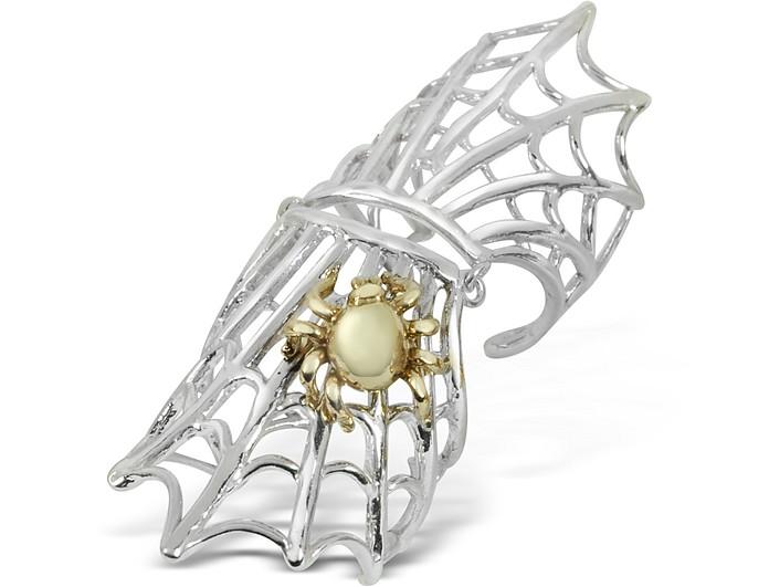 Spiderweb Silver and Bronze Articulated Ring - Bernard Delettrez