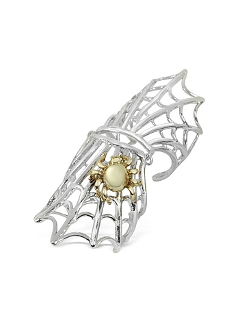 Spiderweb Silver and Bronze Articulated Ring