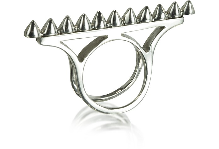 Studded Double Band Silver Ring  - Bernard Delettrez