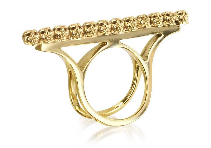 Golden Skulls Double Band Bronze Ring - Bernard Delettrez