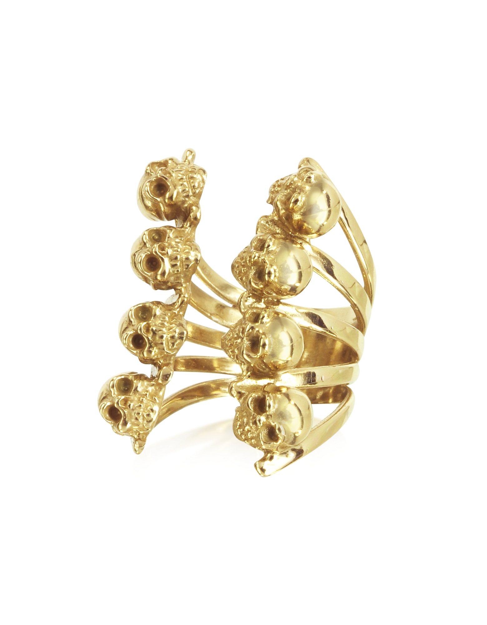 Bernard Delettrez Rings, Golden Skulls Bronze Ring