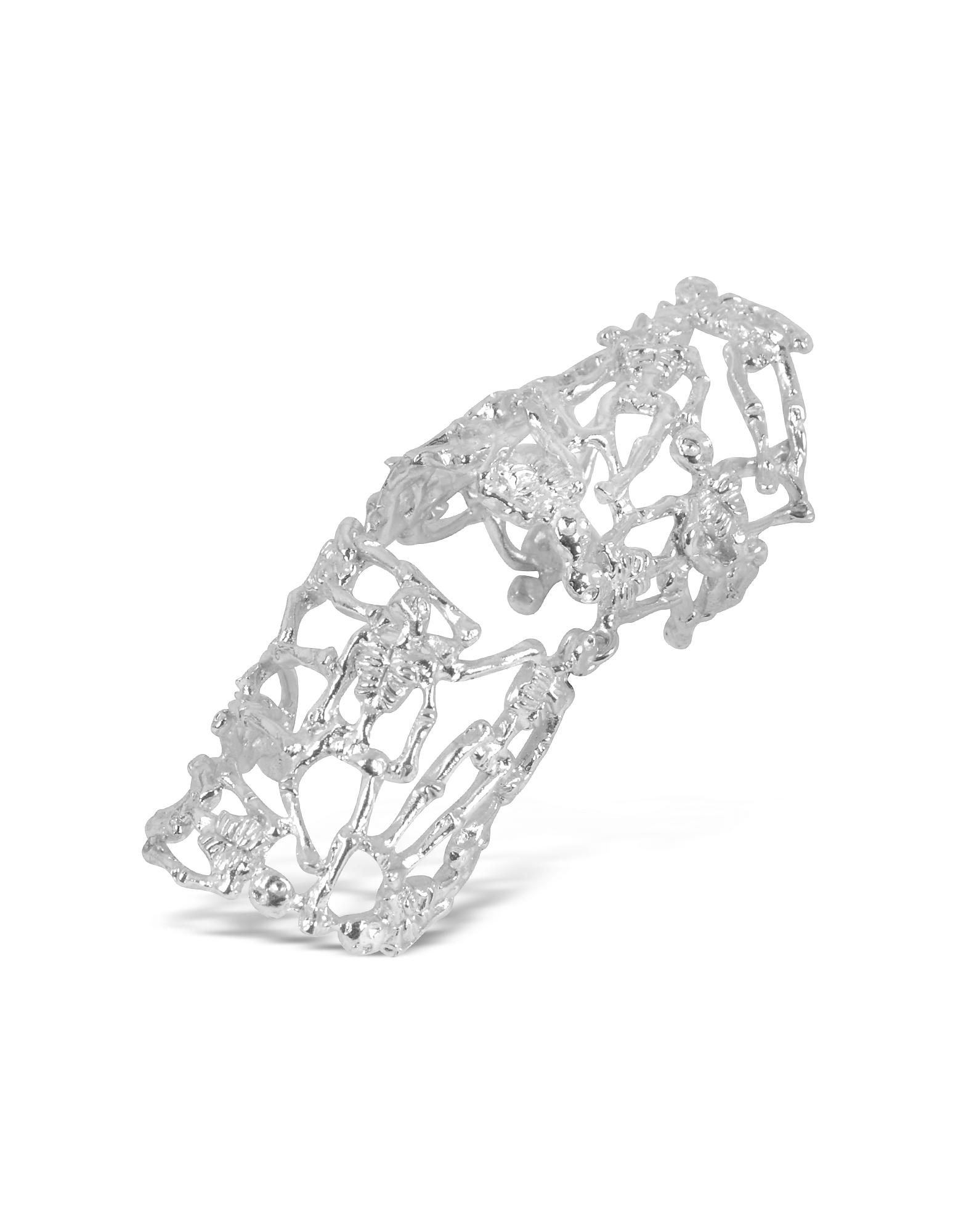 Skeletons - Сочлененное Кольцо со Скелетами из Серебра