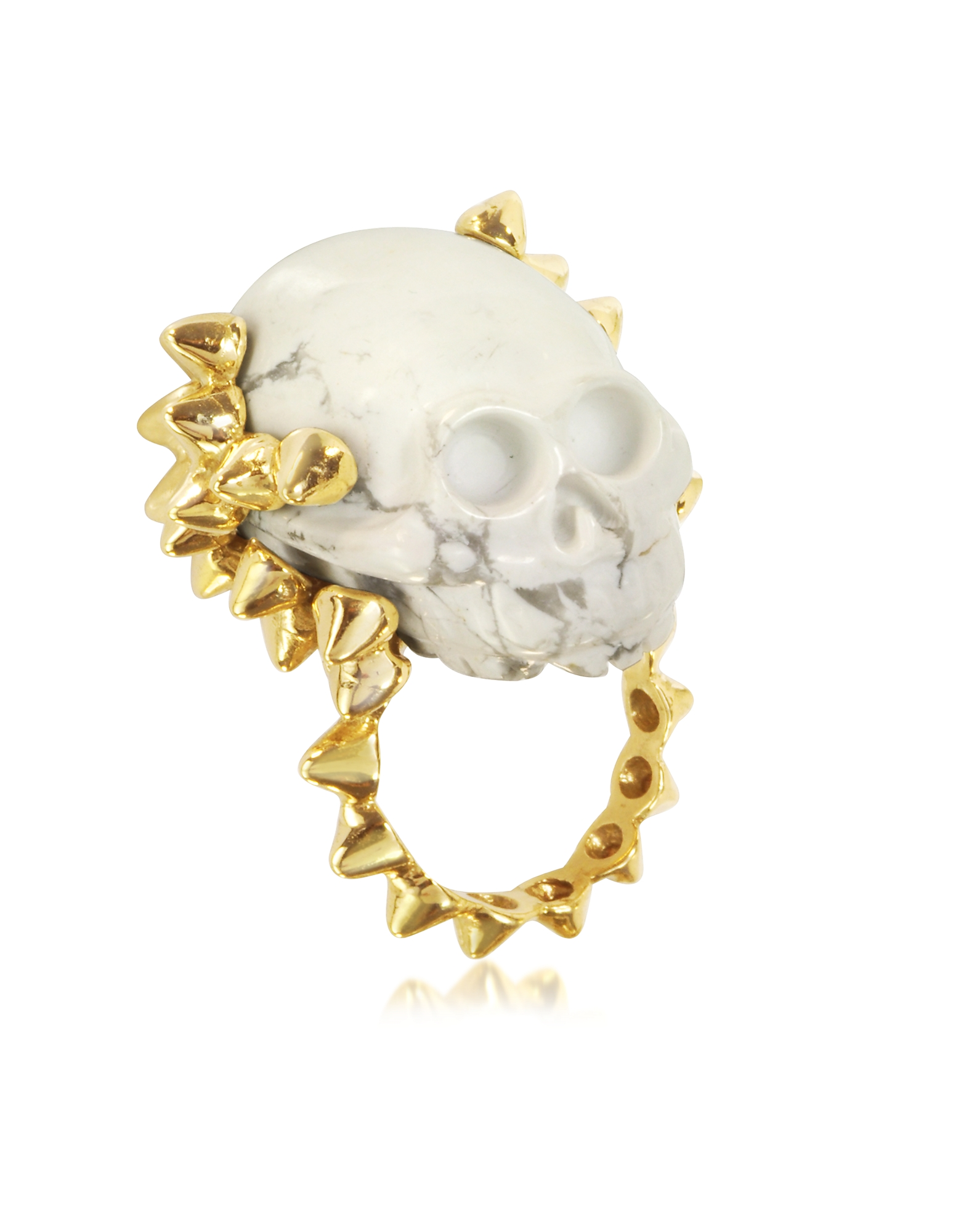 Bernard Delettrez Rings, Golden Studs with Marble Skull Ring