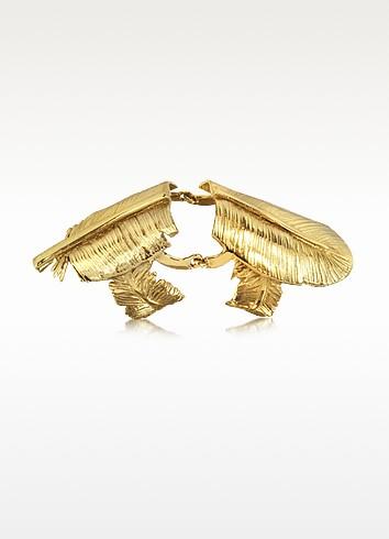 Bronze Articulated Feather Ring - Bernard Delettrez
