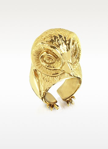 Bronze Big Owl Ring - Bernard Delettrez
