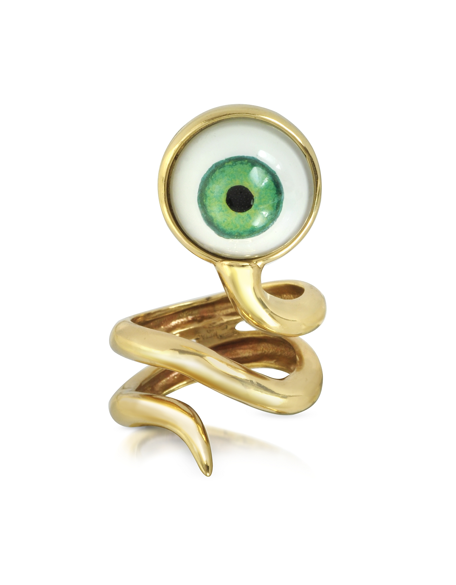 Bernard Delettrez Rings, Bronze Snake Ring With Eye