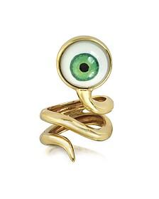 Schlange und grünes Auge - Ring aus Bronze - Bernard Delettrez