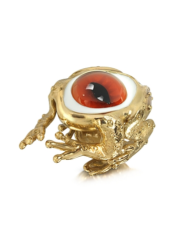 Bernard Delettrez - Bronze Frog Ring With Eye