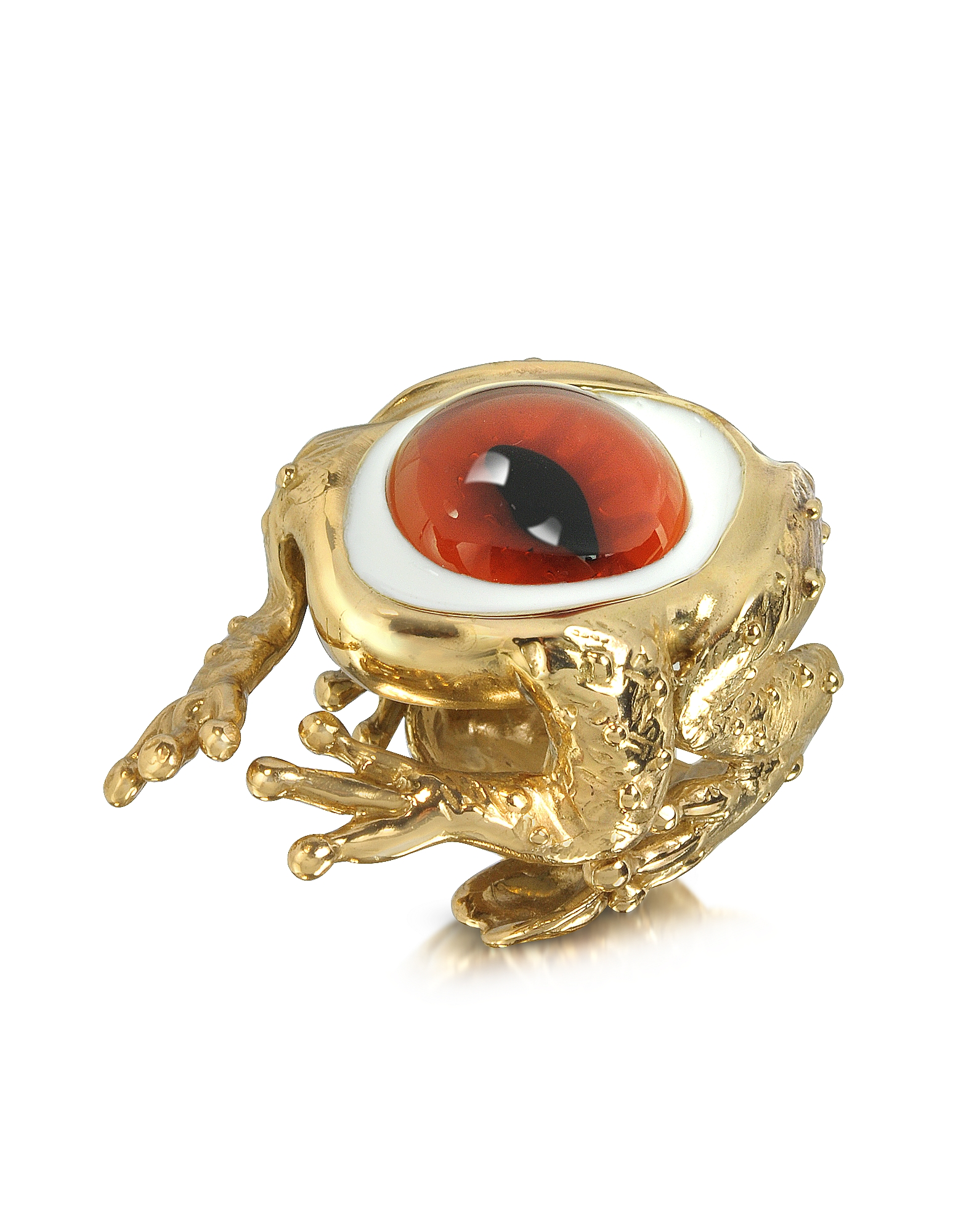 Bernard Delettrez Rings, Bronze Frog Ring With Eye