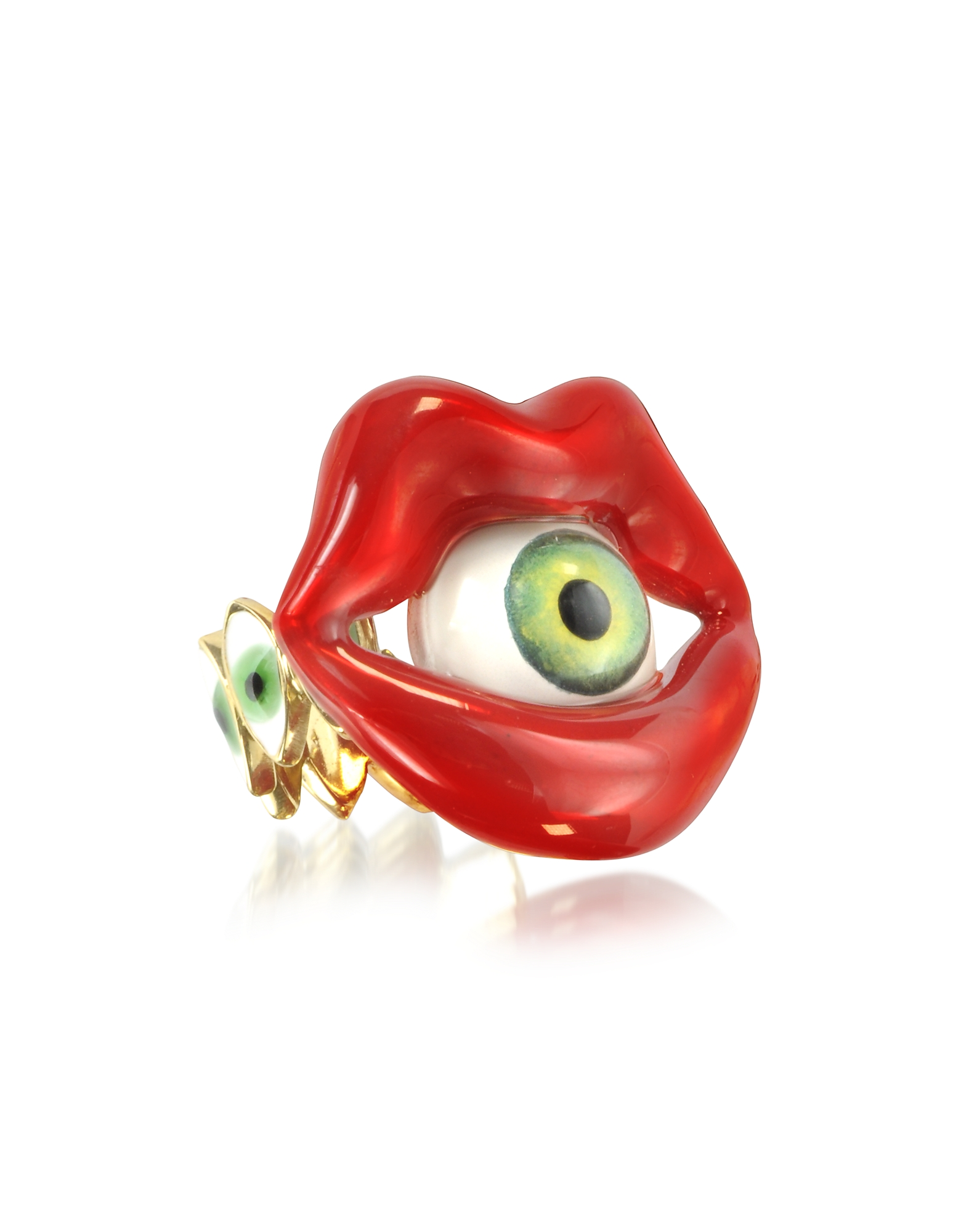 Bernard Delettrez Rings, Bronze Mouth Ring with Eye