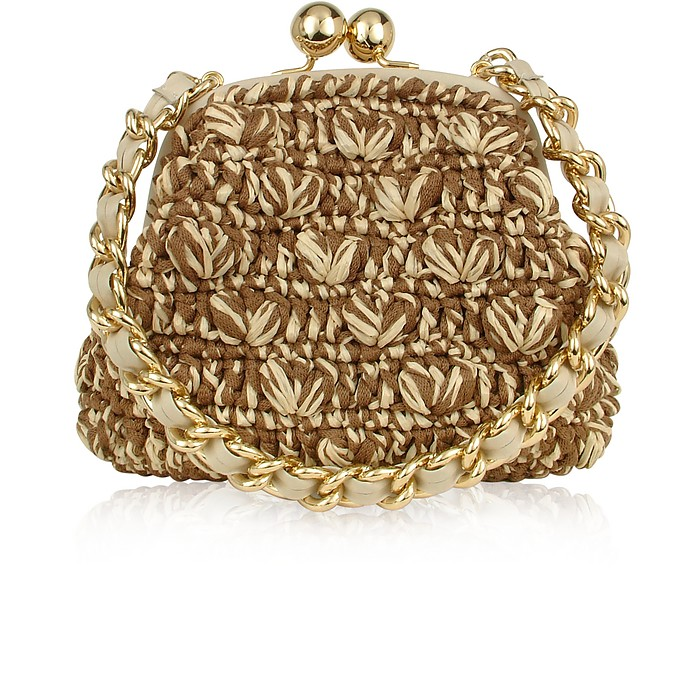 Capaf Line Woven Straw & Leather Clutch Bag w/Chain strap - Forzieri