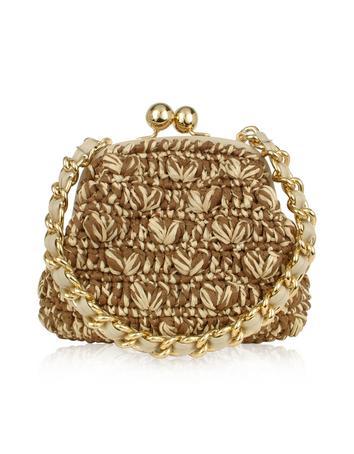 Foto der Handtasche Forzieri Capaf Line Clutch aus gewobenem Stroh und Leder mit Schmuckkette