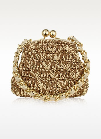 Capaf Line Woven Straw & Leather Clutch Bag w/Chain strap - Forzieri