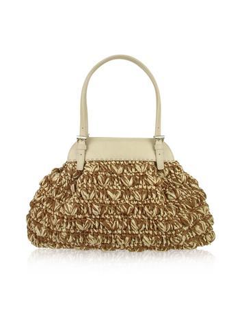 Foto der Handtasche Forzieri Capaf Line - Handtasche aus gewobenem Stroh und Leder
