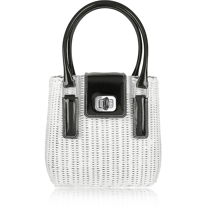 Capaf Line Black & White Wicker Handbag - Forzieri