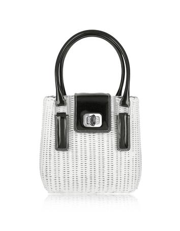 Foto der Handtasche Forzieri Capaf Line Handtasche aus Korb in schwarz & weiss