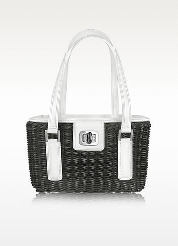 Capaf Line Black & White Wicker Basket Handbag  - Forzieri