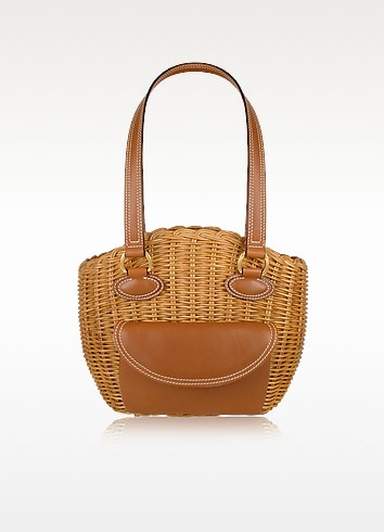 Capaf Line Light Brown Wicker and Leather Shoulder Bag - Forzieri