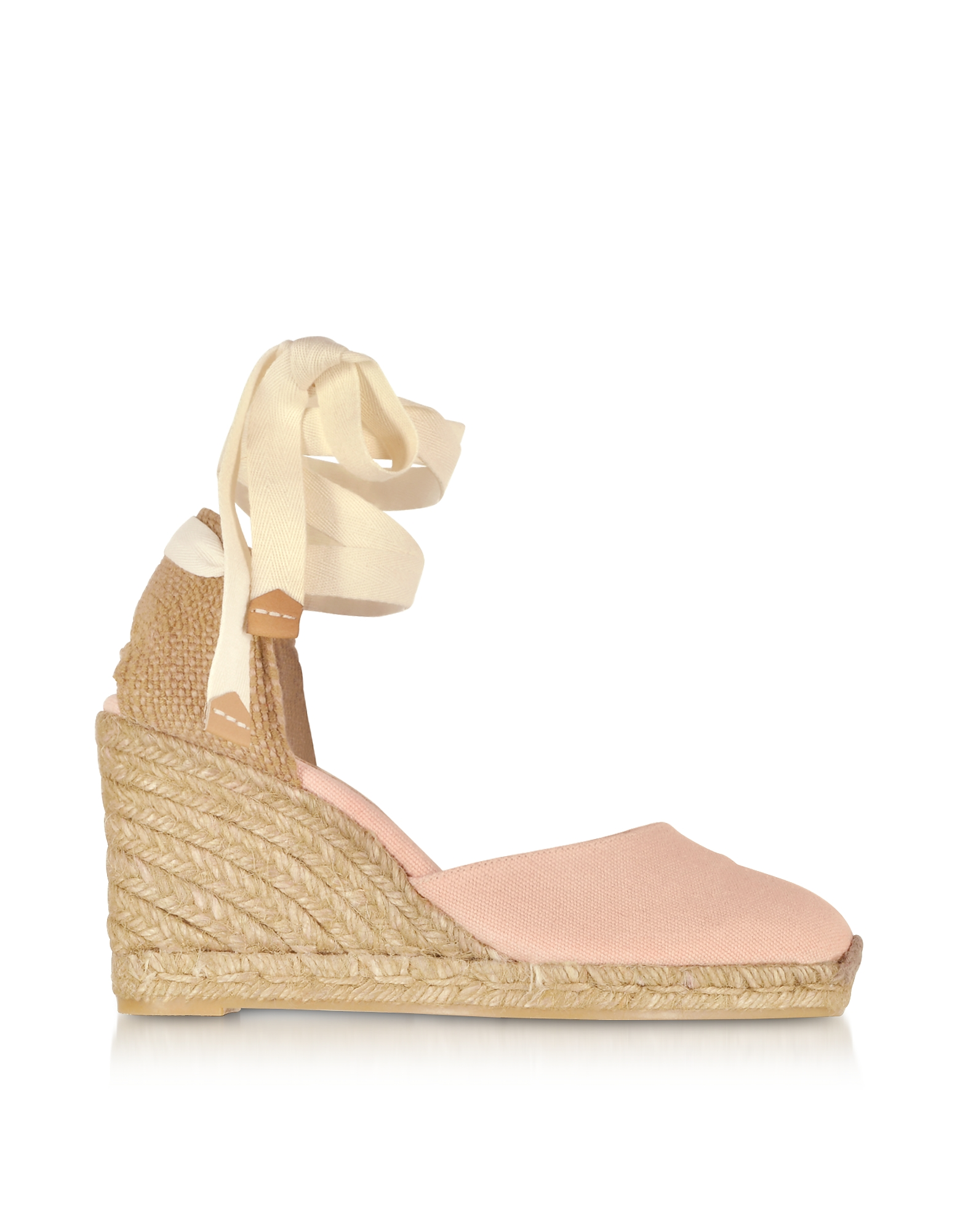 Castaner Carina Pale Pink Canvas Wedge Espadrilles