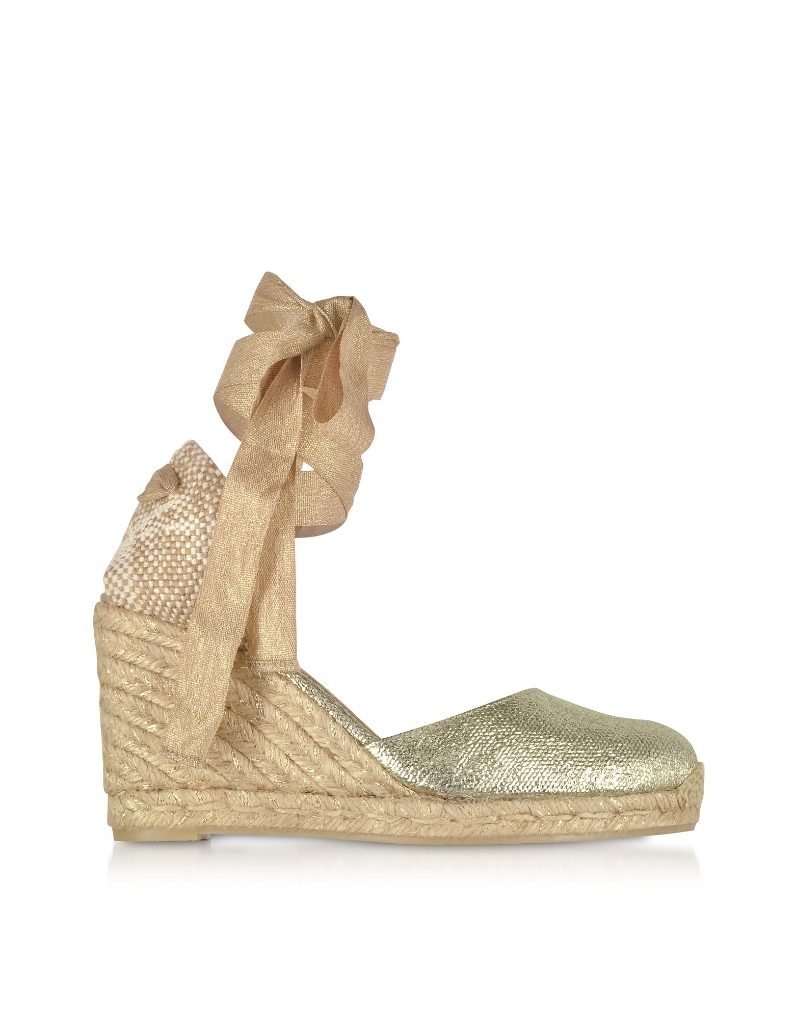 Castaner Shoes, Carina Golden Canvas Wedge Espadrilles