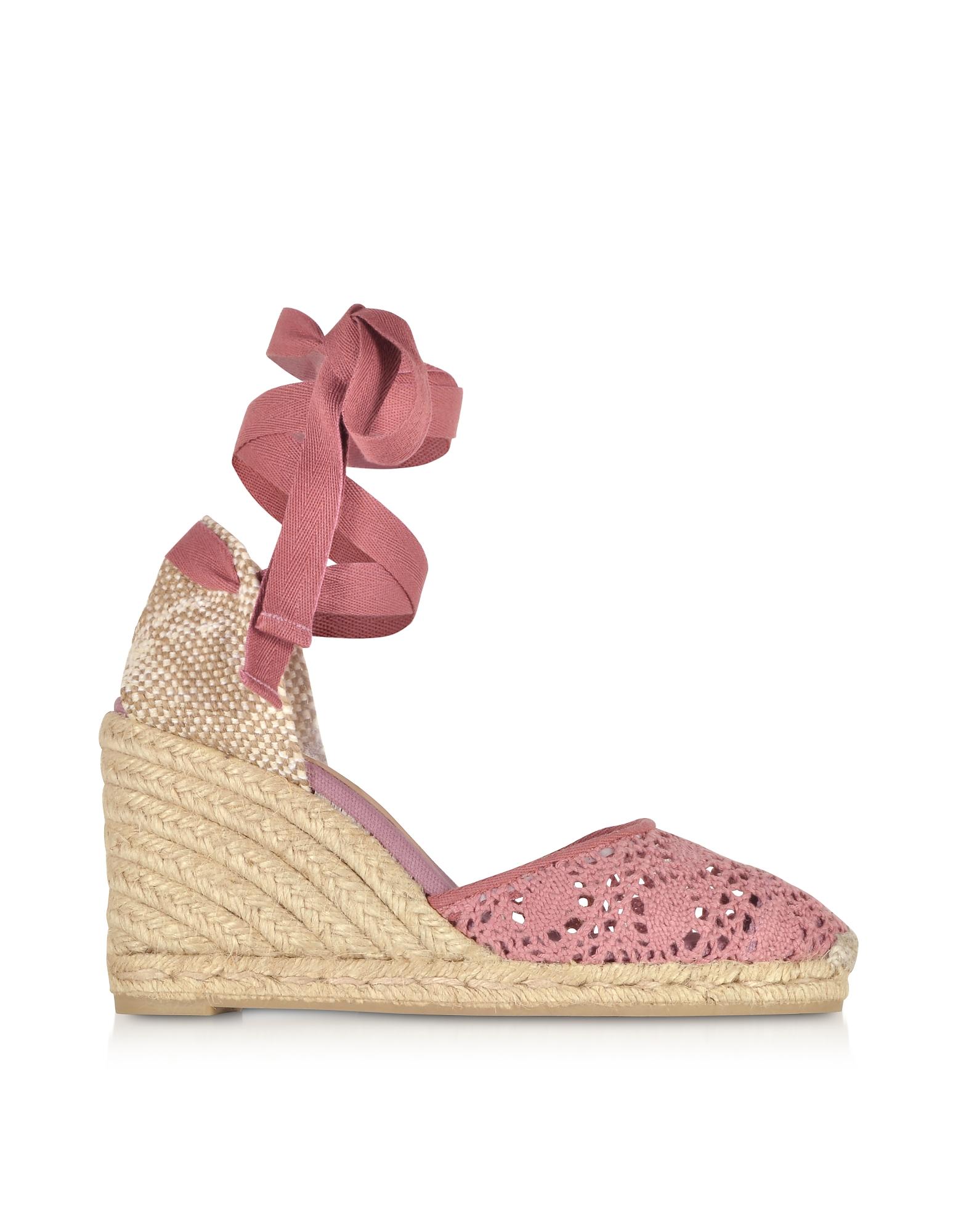 Castaner Designer Shoes, Carina Malva Canvas Wedge Espadrilles