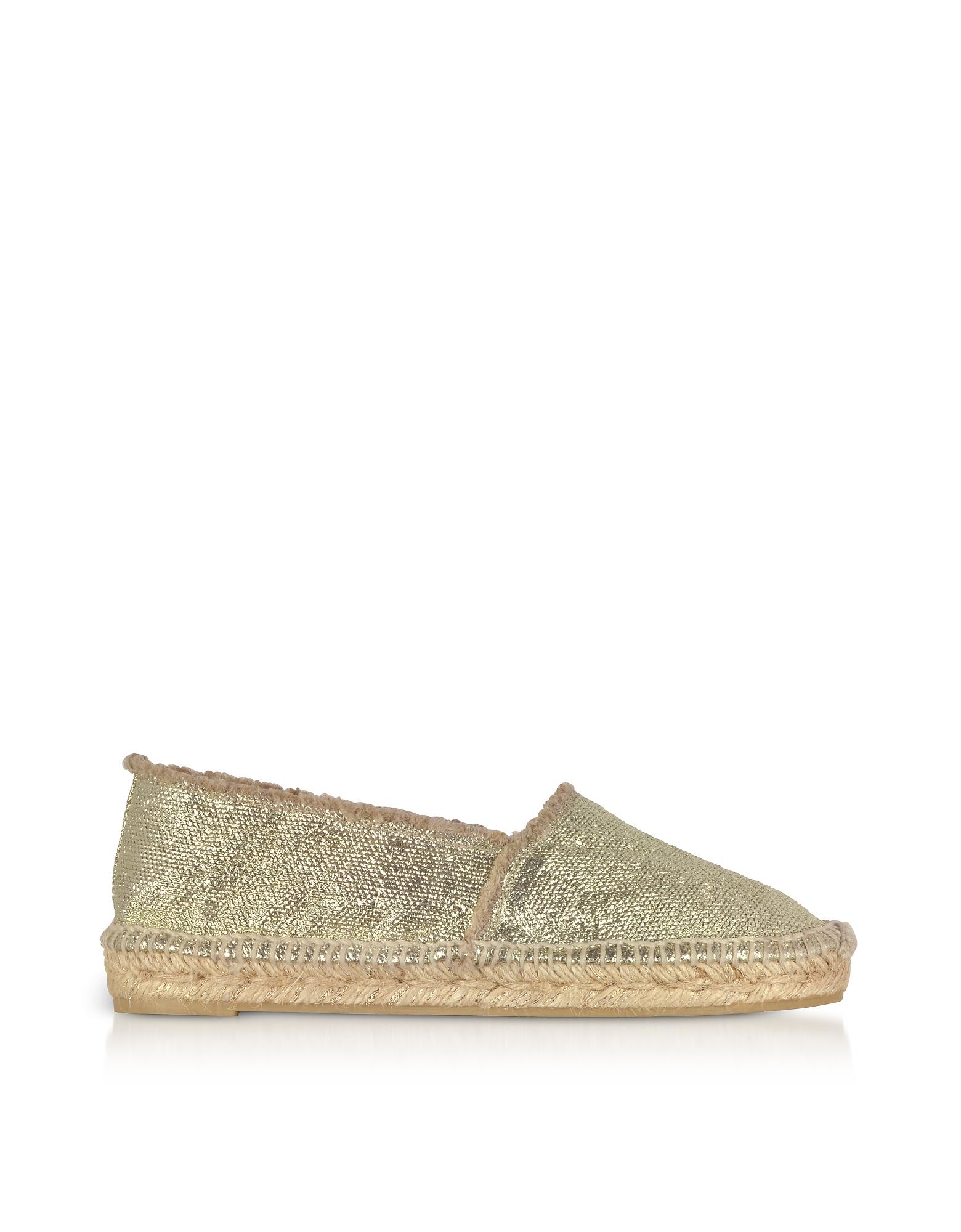 Castaner Designer Shoes, Kito Golden Canvas Espadrilles