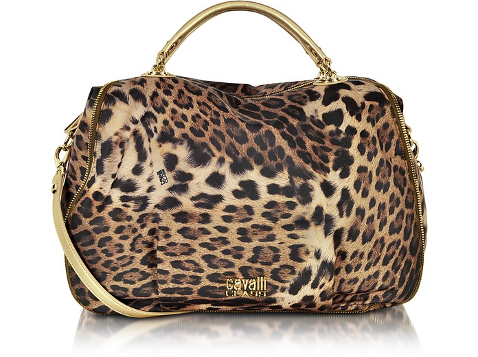 Megan Animal Print Fabric Satchel - Class Roberto Cavalli