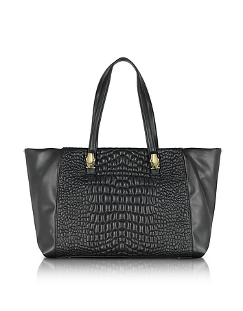 True Diva Medium Black Quilted Eco Leather Tote bag