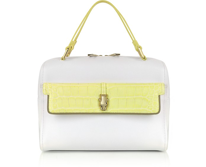Class Quarz White and Yellow Leather Bowling Bag - Roberto Cavalli