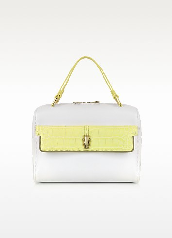 Class Quarz White and Yellow Leather Bowling Bag - Roberto Cavalli