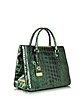Kate Dark Green Croco Embossed Leather Tote - Class Roberto Cavalli