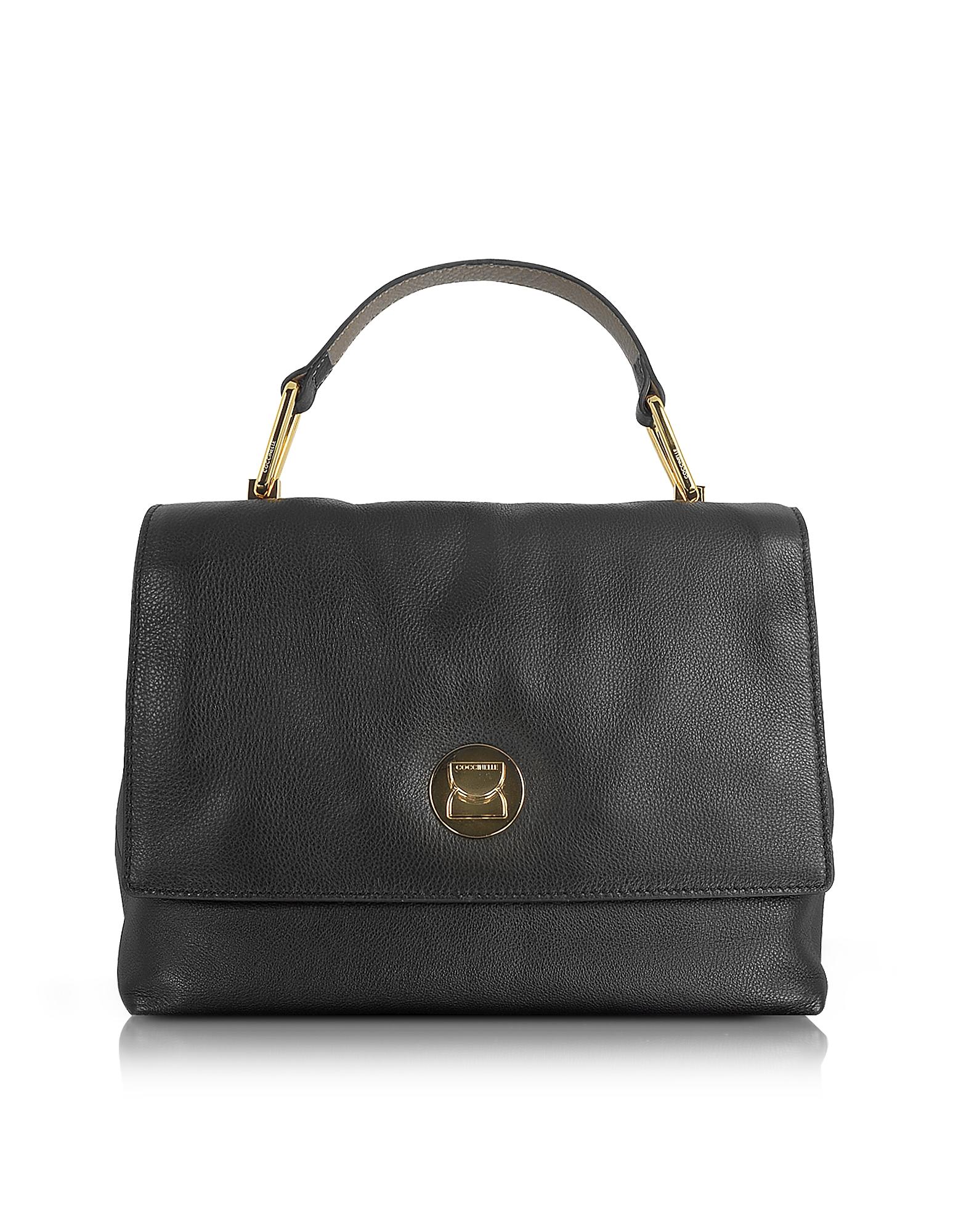 Coccinelle Liya Black Grainy Leather Satchel Bag