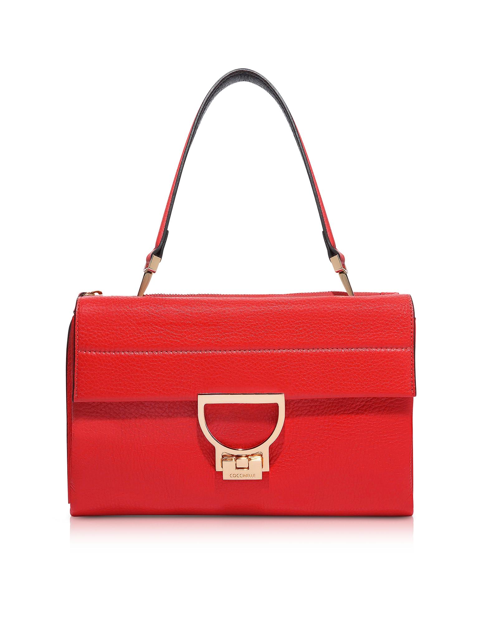 Coccinelle Handbags, Coquelicot Pebbled Leather Arlettis Shoulder Bag