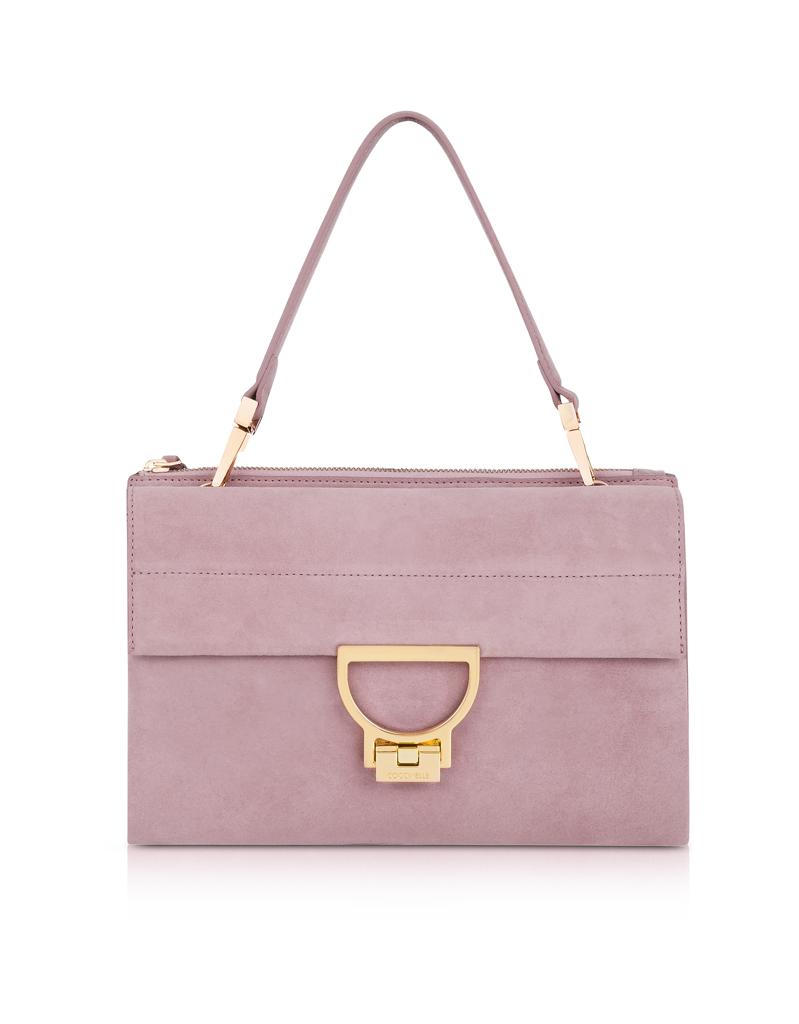 Coccinelle Handbags, Mauve Suede Arlettis Shoulder Bag
