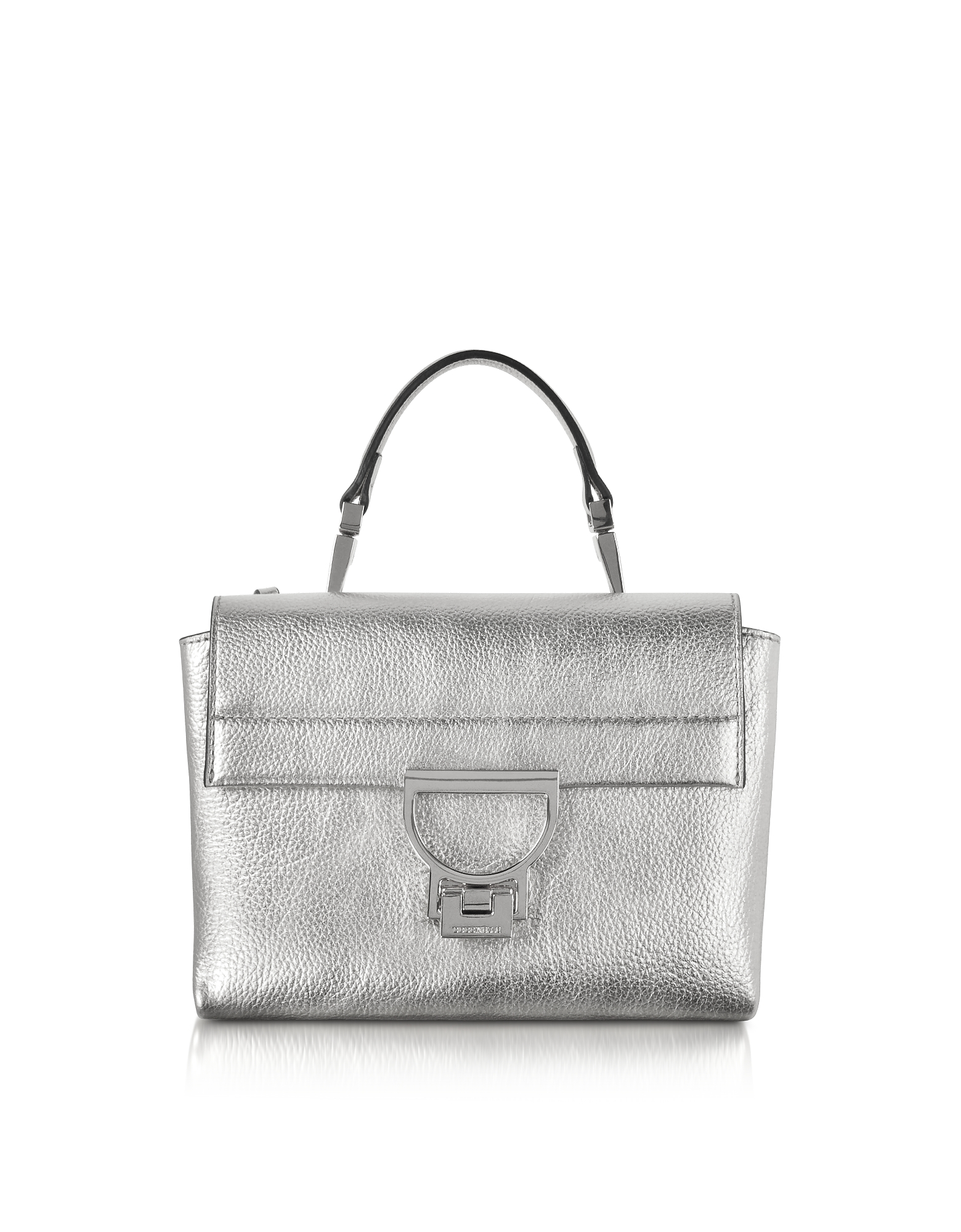 Coccinelle Handbags, Silver Pebbled Leather Arlettis Mini Bag w/Shoulder Strap