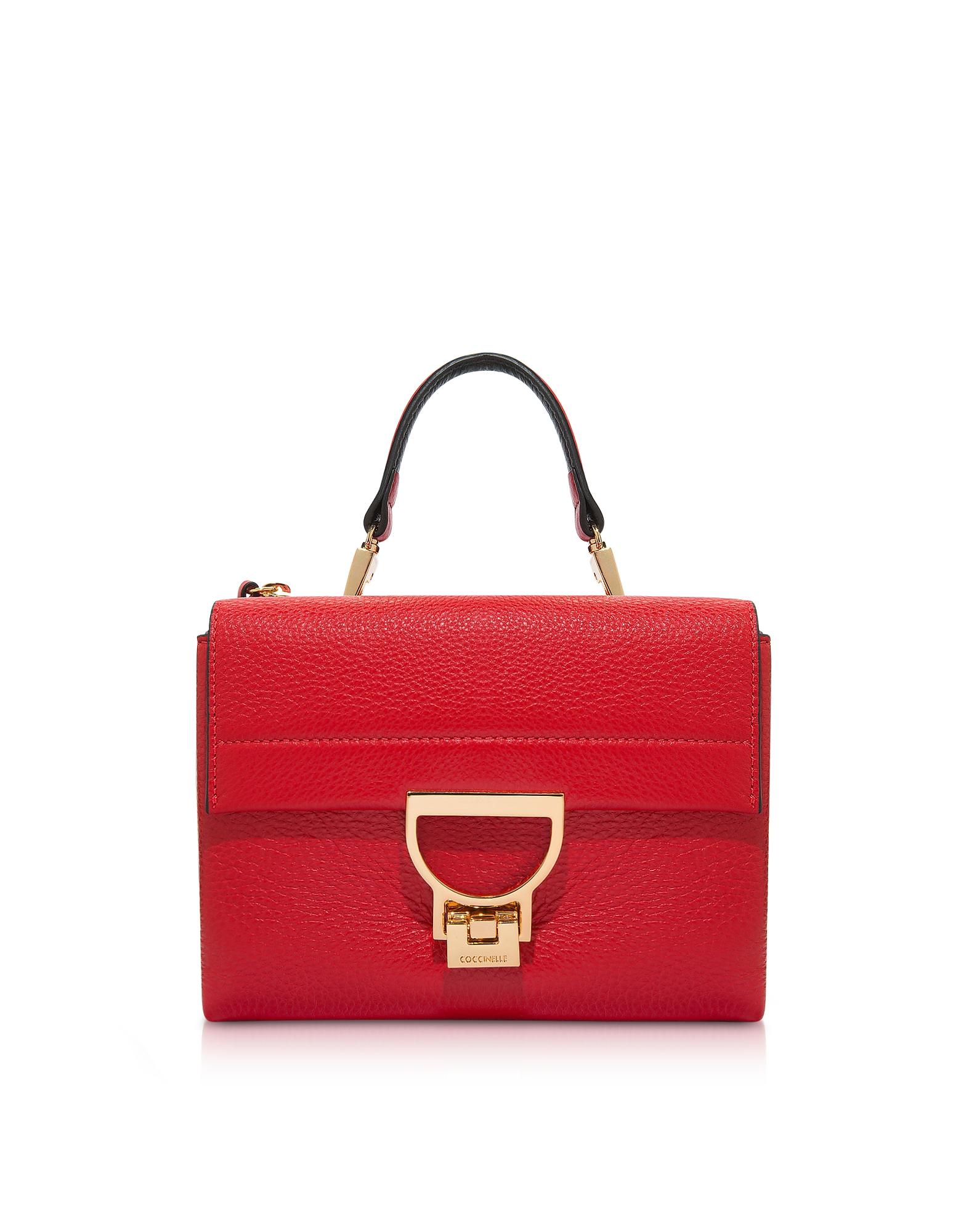 Coccinelle Handbags, Coquelicot Pebbled Leather Arlettis Mini Bag w/Shoulder Strap