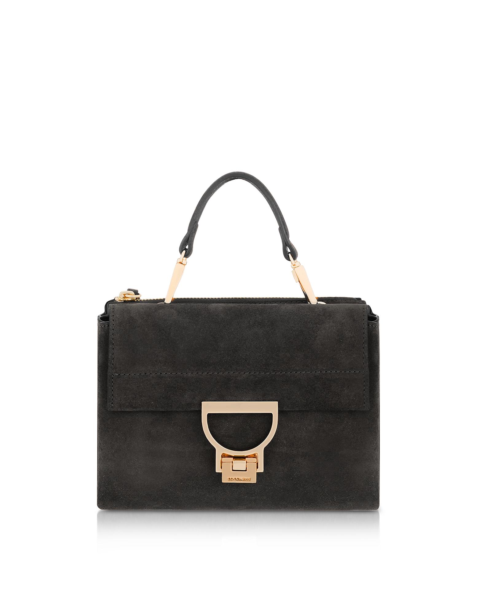 Coccinelle Handbags, Black Suede Arlettis Mini Bag w/Shoulder Strap