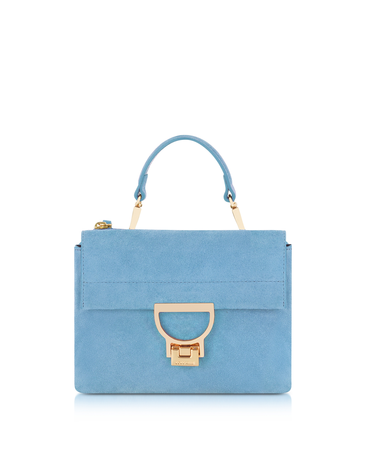 Coccinelle Handbags, Sky Blue Suede Arlettis Mini Bag w/Shoulder Strap