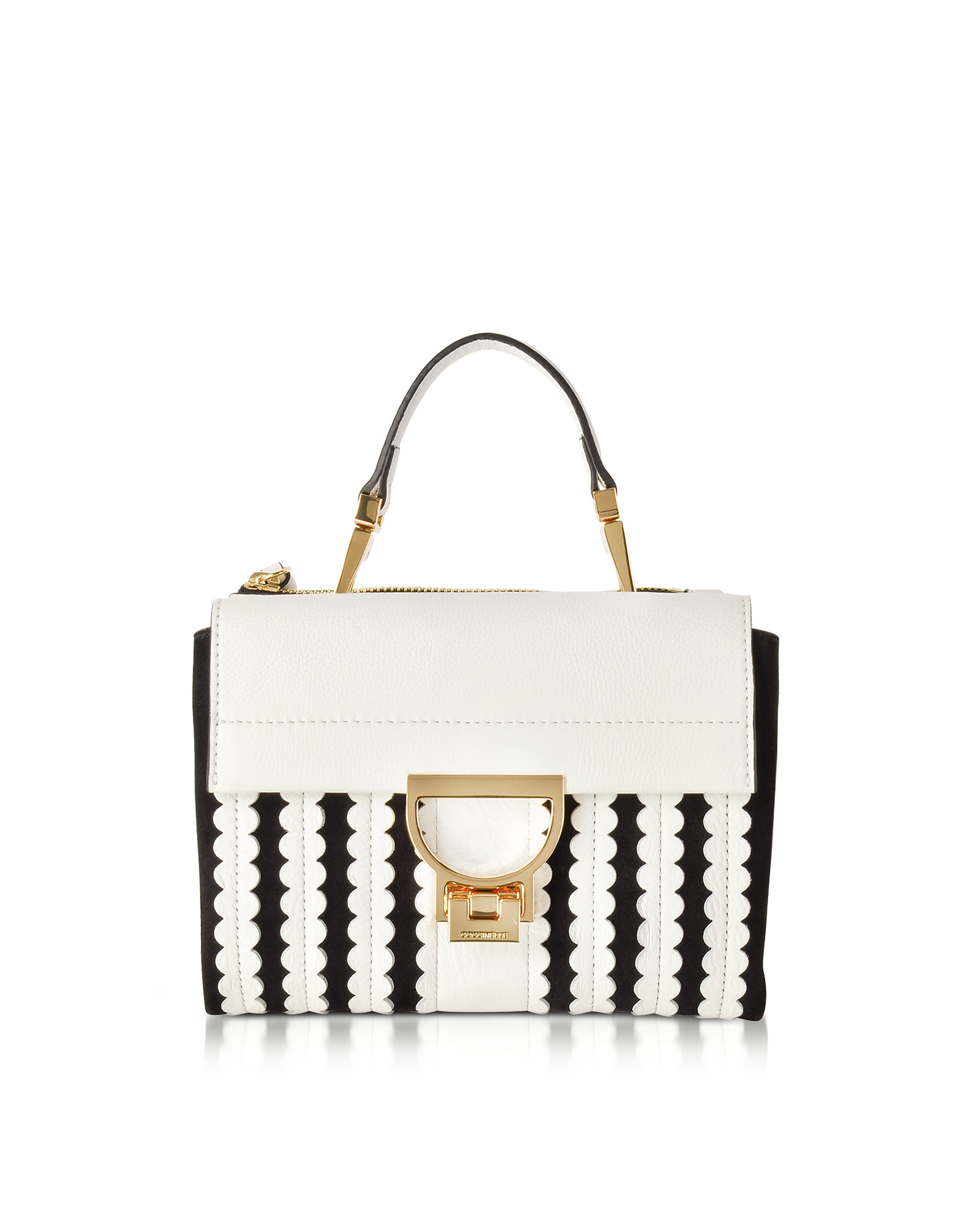 Coccinelle Handbags, Arlettis Merletto White Pebbled Leather and Black Suede Mini Bag w/Shoulder Str