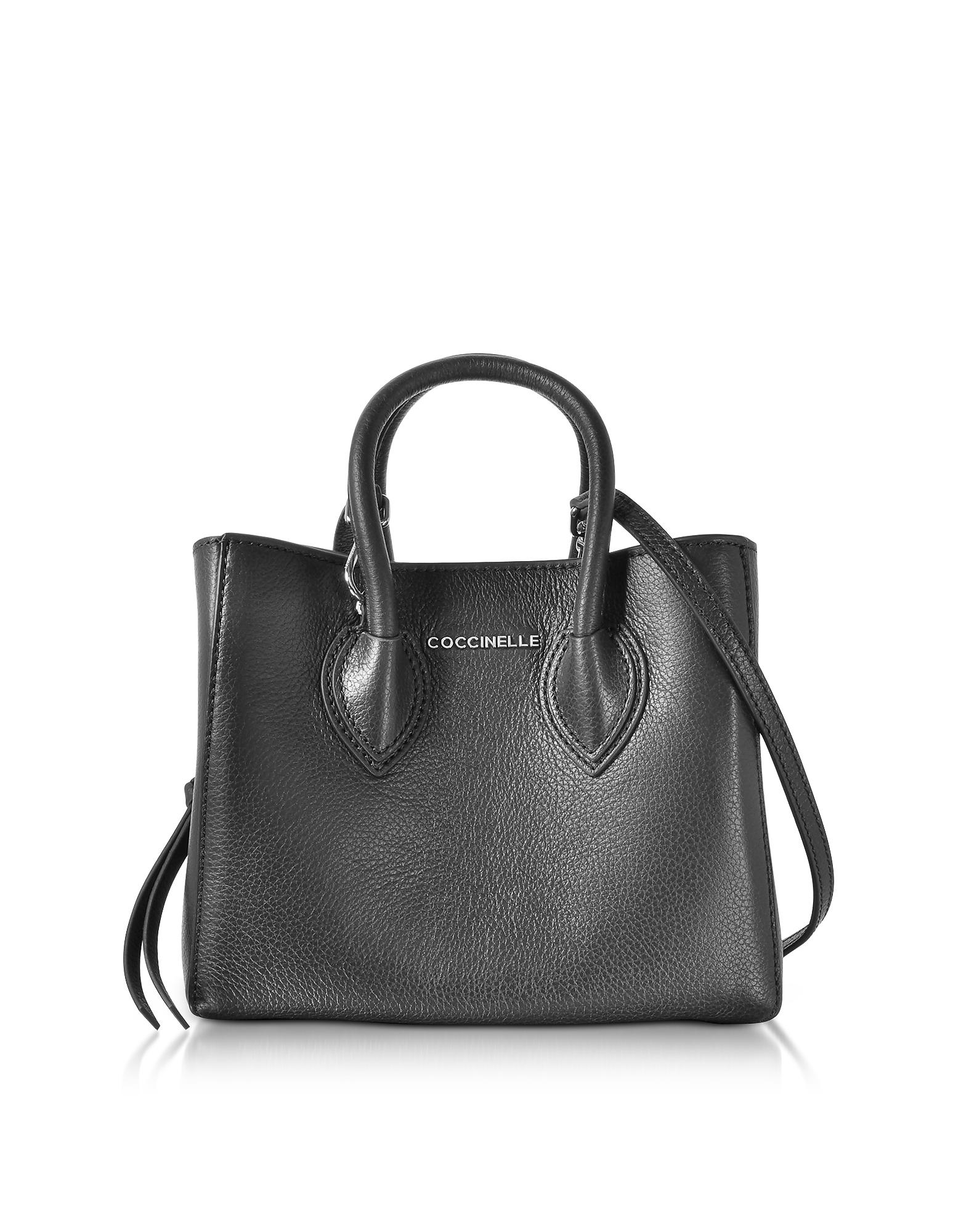 Coccinelle Handbags, Farisa Black Pebbled Leather Mini Tote Bag