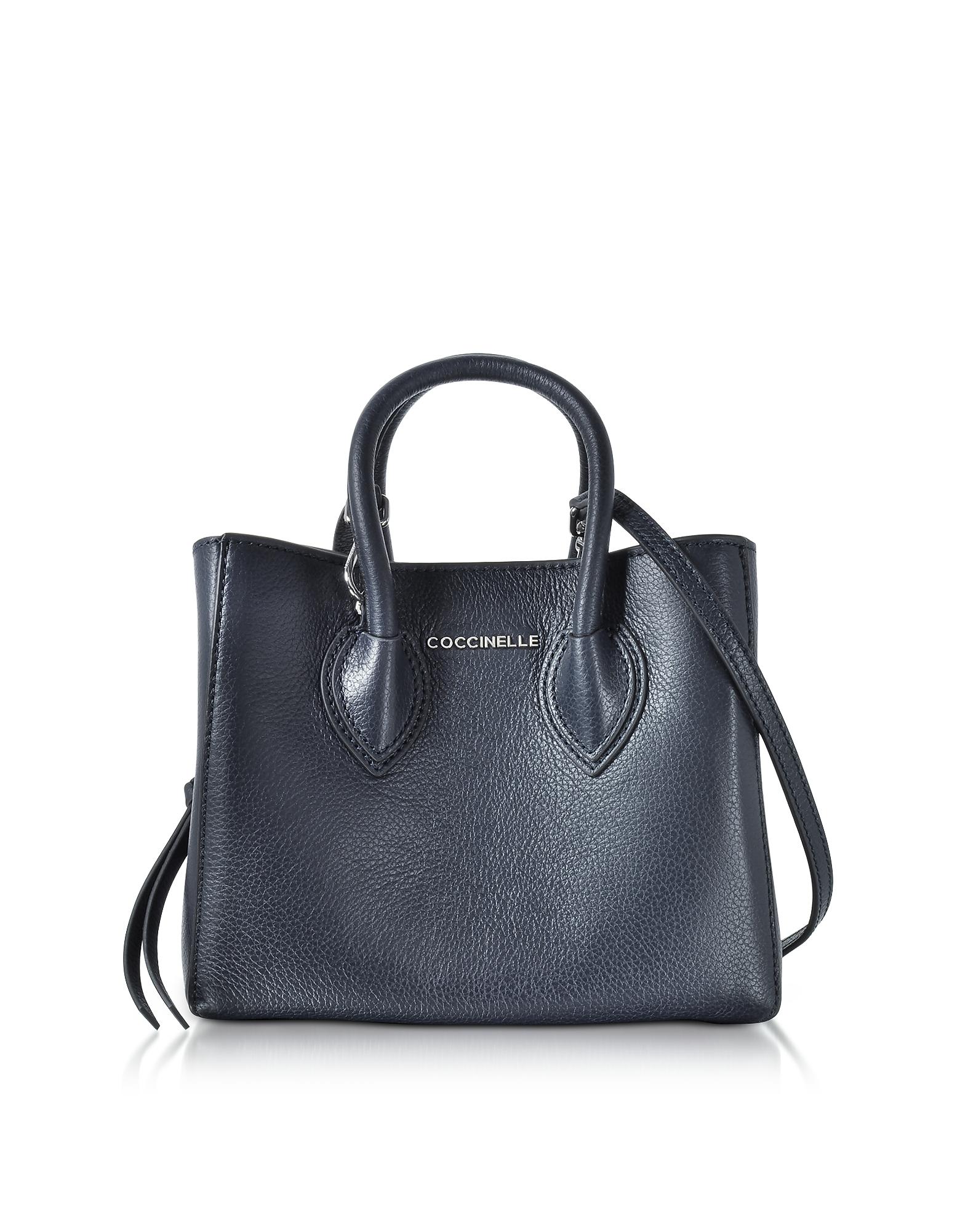 Coccinelle Handbags, Farisa Blue Pebbled Leather Mini Tote Bag
